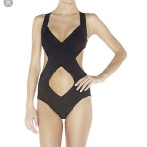 NEW Herve Leger Leona Black swimsuit small